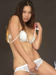 Undies pics - Lovely Asian chick in sexy white underthings
