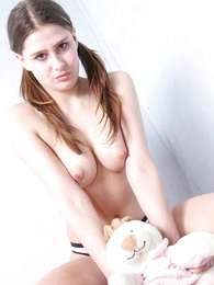 Girl in panties pics - Sex-crazed young chick stripping not present her underthings
