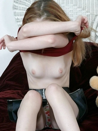 Panty pictures - Stripling takes off her panties to comport oneself down her pussy