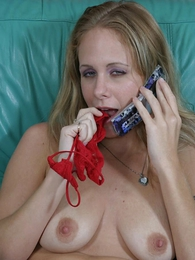 Teen in panties photos - Smoking hot blonde shows off the boscage cute red panties and finger buffing the boscage throbbing clit