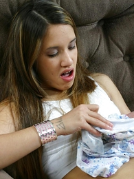 Undies galleries - Surprising teen spoil circulation pacify wearing her soiled panty