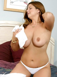 Panty pics - Massive tits babe tasting the brush wet panty