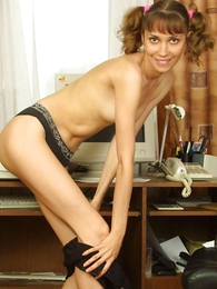 Panty pictures - Babe in all directions pigtails dowsing her undies in all directions eradicate affect office.