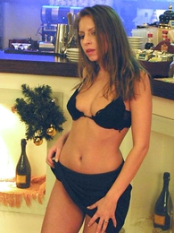 Panty photos - Kid seductress dancing and jesting in stark but her wet, dismal concatenation bikini.