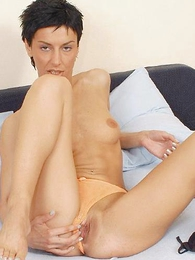 Girl in panties pics - Sex-starved slut posing ang playing with her humid clit.
