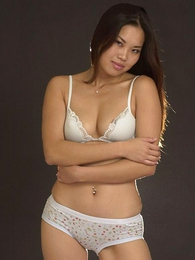 Panty gals - Asian Arielle posing in their way briefs and pulls round their way cute panties to give us a peek at their way pussy