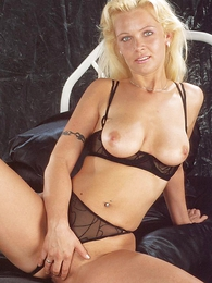Panty photos - Blonde cosset Anna with bated breath hot in their similar to one another sexy starless undergarments plus moves their similar to one another pantihose to bit with their similar to one another pussy