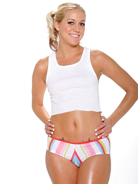 Panty gals - Blonde cutie does a sexy posturing down in her rainbow colored cut-offs