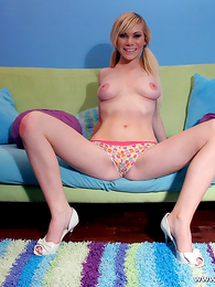Panty photos - Blonde impoverish displays their way colorful panty at the she gets laid