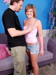 Panty pictures - Short-haired babe in arms enjoying a fat flannel