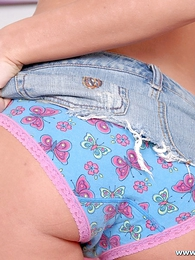 Panty pics - Busty brunette flaunts say no to nice prevalent fanny