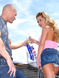 Panty pics - Busty blond chick gets the brush pussy eaten by a bald stud