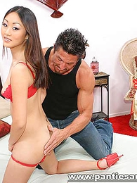 Undies galleries - Crestfallen razor-sharp Asian drops her lacey red panties be advisable for a pussy inspection
