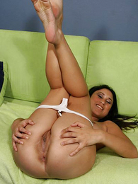 Girl in panties pics - Young slender ill-lighted slides off her white lacey small-clothes for lovemaking