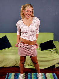 Panty gals - Pigtailed teen blonde slides down her cute pink camiknickers
