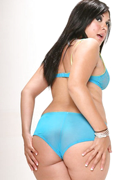 Panty pictures - Young dark haired hottie struts her swot in light blue panties and heels