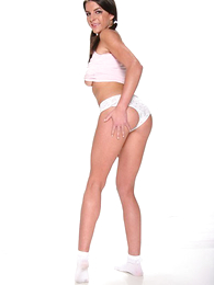 Panty galleries - Pigtailed brunette regarding skimpy white right arm for In men