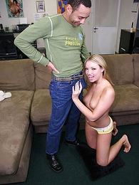 Undies photos - Cute blonde in yellow panties drops them for hard blarney sofa screwing
