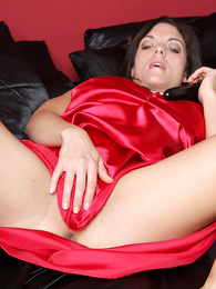 American looker toys her wet pussy Sexy Satin Silk Fun